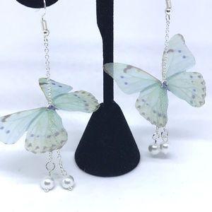 Organza Ethereal Butterfly Wings Pearl Earrings